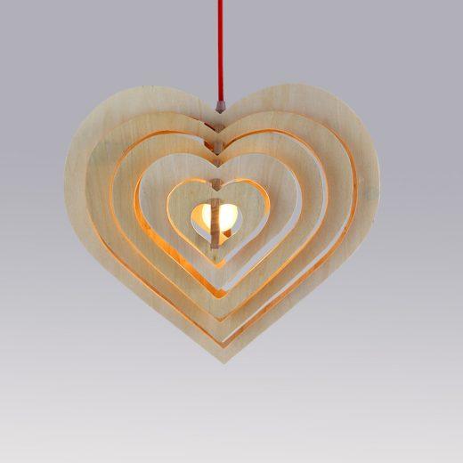 Závesné kreatívne drevené svietidlo - HEART7