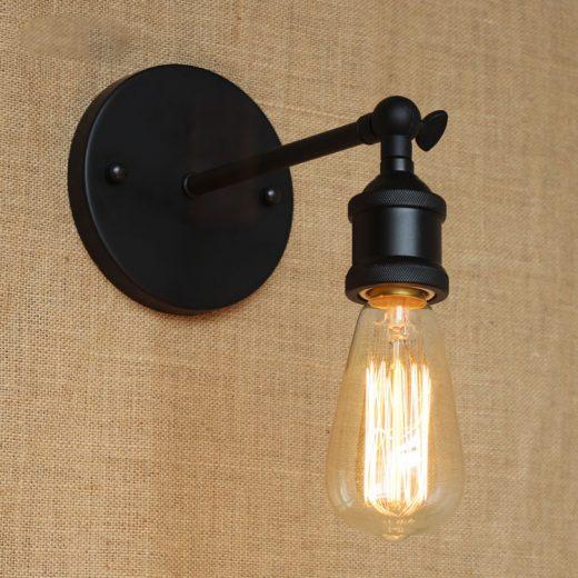 Historické nástenné svietidlo na žiarovky typu E27 v čiernej farbe1