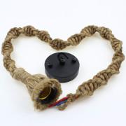 Závesné lanové svietidlo s ručným tkaním s priemerom 25mm, 1m, jedna pätica2