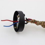 Závesné lanové svietidlo s ručným tkaním s priemerom 25mm, 1m, jedna pätica3
