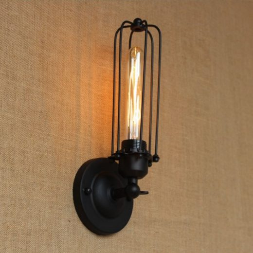 Historické nástenné svietidlo s rovnou klietkou v čiernej farbe (2)
