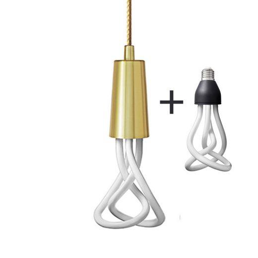 Závesné štýlové svietidlo Plumen DropCap, mosádzna farba + Plumen 001 žiarovka