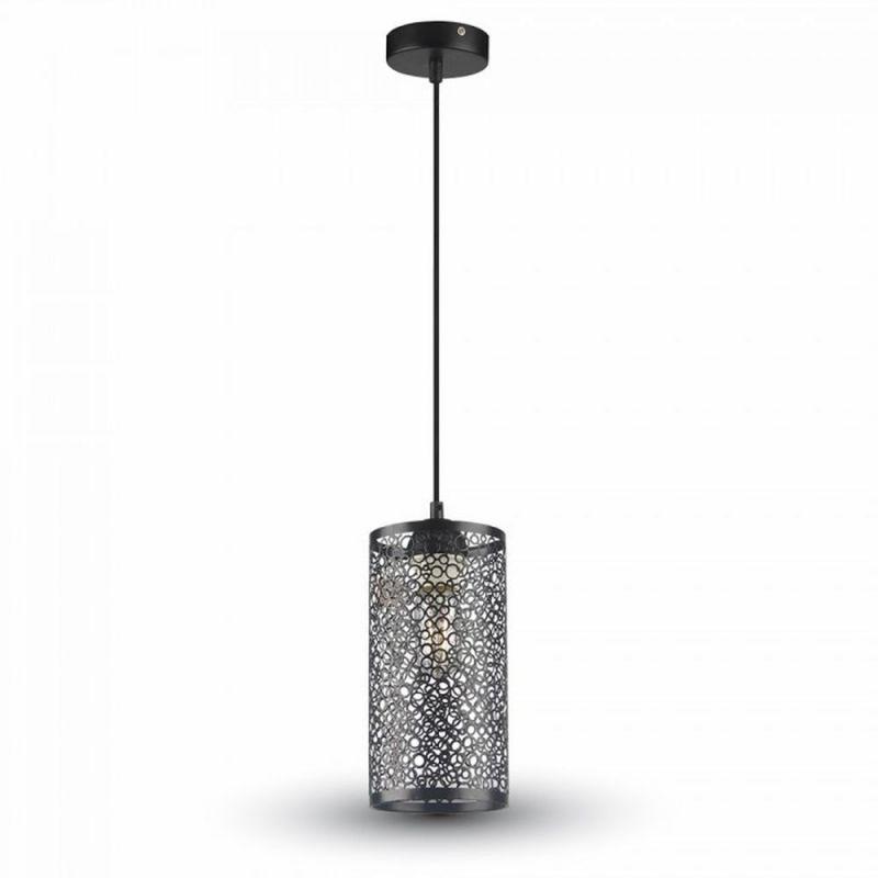 Závesné retro svietidlo Cylinder vo svetlo čiernej farbe (1)