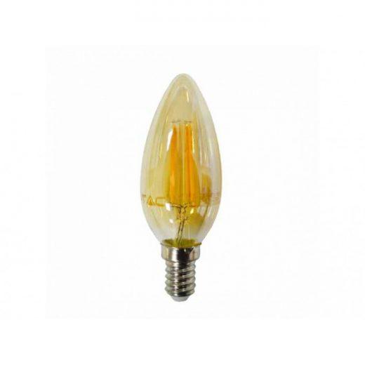 FILAMENT žiarovka - GOLD CANDLE - E14, Teplá biela, 4W, 350lm, V-TAC